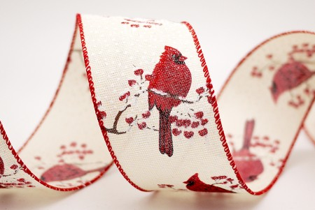 Red Bird & Snowing Ribbon - Red Bird & Snow Red Edge Ribbon