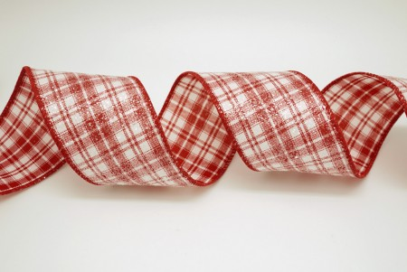 White Glitters Plaid Ribbon