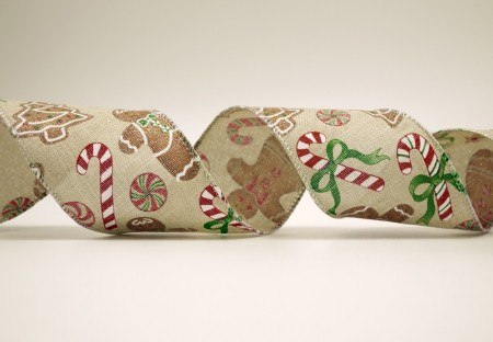 Gingerbread Man, Candy Cane Faux Burlap Ribbon - Gingerbread Man, Candy Cane Faux Burlap Ribbon