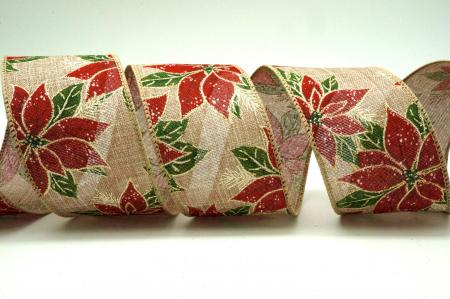 Wood Grain Poinsettia Ribbon - Wood Grain Poinsettia Ribbon