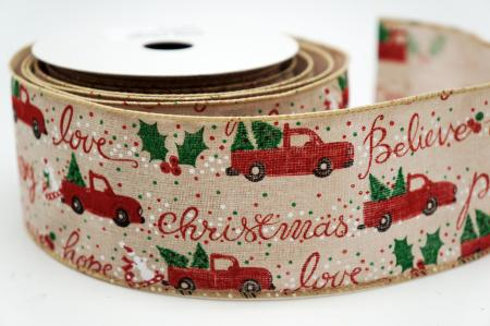 Red Christmas Truck Narrative Ribbon - Red Christmas Truck Narrative Ribbon