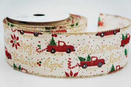 Red Truck Christmas Narrative Ribbon - Red Truck Christmas Narrative Ribbon