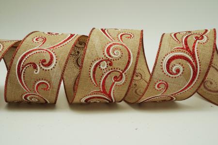 Scrolls Burlap Ribbon - Scrolls Burlap Ribbon