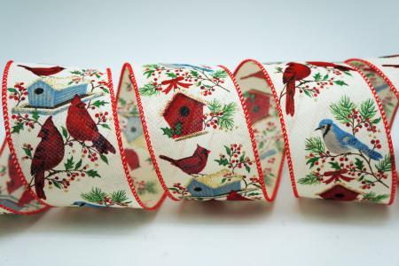 Cardinal & Birdhouse Ribbon - Cardinal & Birdhouse Ribbon