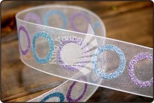 Glitter lint met meerdere cirkels - Glitter Multi Cirkels Lint (PR2897)