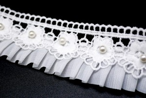 Pearl Lace Flower Pleat Ribbon - Pearl Lace Flower Pleat Ribbon