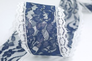 Navy Wired Lace Ribbon - Navy Wired Lace Ribbon