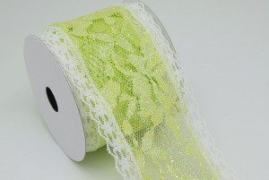 Apple Green Glitter Lace Ribbon - Apple Green Glitter Lace Ribbon