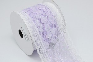 Lilac Glitter Lace Ribbon - Lilac Glitter Lace Ribbon