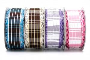Plaid Ribbon w/Metallic Diecut Edge - Plaid Ribbon w/Metallic Diecut Edge