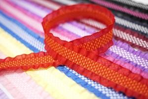 Check Center Ruffled Ribbon - Check Center Ruffled Ribbon