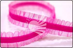 Ruffled Edge Elastic Velvet Ribbon - Ruffled Edge Elastic Velvet Ribbon