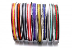 Metallic Edge Narrow Stripe Ribbon