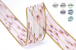 Dwukolorowa metaliczna wstążka ze skręconej przędzy - Dwukolorowa metaliczna wstążka ze skręconej przędzy