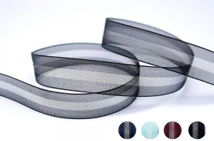Two Tone Organza Stripe Ribbon - Two Tone Organza Stripe Ribbon