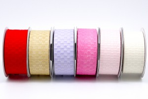 Woven Single Color Plaid Ribbon - Woven Single Color Plaid Ribbon