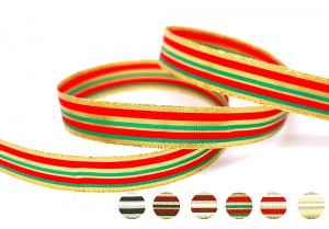Metallic & Polyester Striped Ribbon - Metallic & Polyester Striped Ribbon