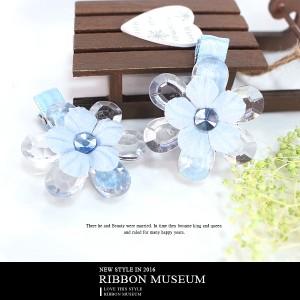 水晶花朵緞帶髮飾