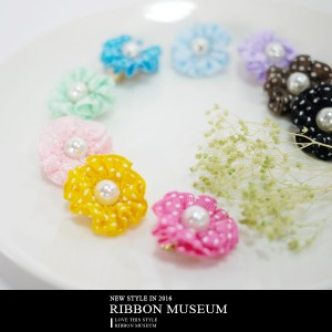 Stitched Grosgrain Ribbon Flower Clip On Earrings