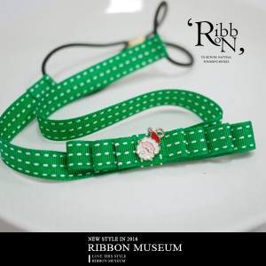 Emerald Stitched Grosgrain Ribbon Hairband