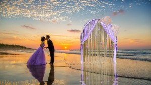 Romantic Purple Wedding Arch