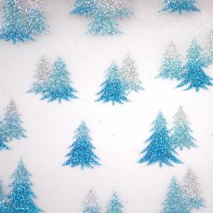 Tri-colored Christmas Trees Organza Fabric - Tri-colored Christmas Trees Organza Fabric