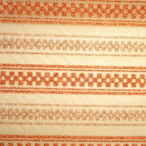 Glitter Checks Organza Fabric - Bicolored checkered design printed on a striped organza fabric