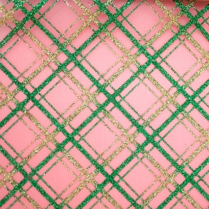 Glitter Slant Plaid Organza Fabric - Glitter Slant Plaid Organza Fabric