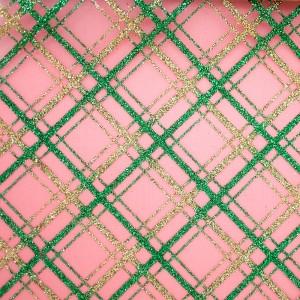 Glitter Slant Plaid Organza Fabric - Glitter Slant Plaid Organza Fabric