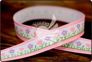 Narrow Floral Print Ribbon