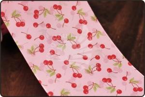 70mm Cherry Print Pink Ribbon - 70mm Cherry Print Pink Ribbon
