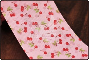 70mm Cherry Print Pink Ribbon - 70mm Cherry Print Pink Ribbon