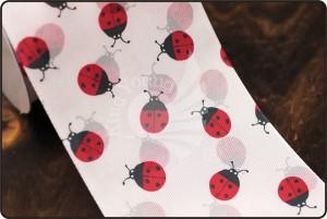 Lint met lieveheersbeestjesprint van 70 mm - Lint met lieveheersbeestjesprint van 70 mm