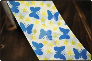 70mm Butterfly & Stars Print Ribbon - 70mm Butterfly & Stars Print Ribbon