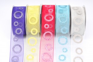 Glitter Circle Print Ribbon - Glitter Circle Print Ribbon