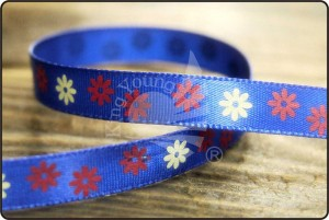 Daisy Flower Satin Ribbon - Daisy Flower Print Satin Ribbon