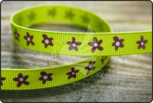 Flower Print Grosgrain Ribbon - Flower Print Grosgrain Ribbon
