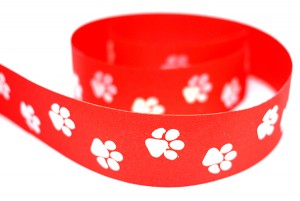 Dog Paw Prints Satin Ribbon - Dog Paw Prints Satin Ribbon