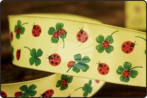 Ladybug & Clover Print Grosgrain Ribbon - Ladybug & Clover Print Grosgrain Ribbon