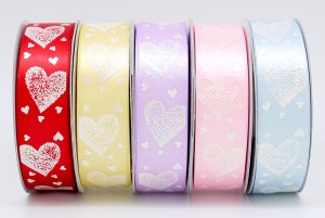 Iridescent Hearts Everywhere Print Ribbon - Iridescent Hearts Everywhere Print Ribbon
