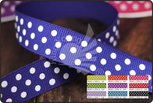 Polka Dots on Grosgrain Ribbon - Polka Dots on Grosgrain Ribbon