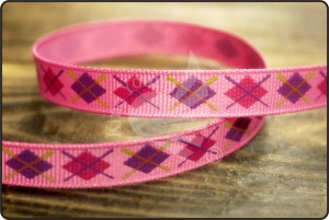 Argyle Print Grosgrain Ribbon - Argyle Print Grosgrain Ribbon