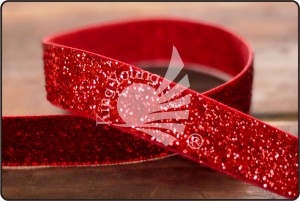 Solid Color Metallic Looped Ribbon - Red Glitter Ribbon (K1029)