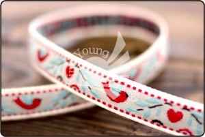 Heart, Bird & Flower Jacquard Ribbon