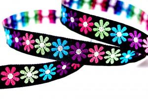 Multi-colored Flower Jacquard Ribbon - Multi-colored Flower Jacquard Ribbon