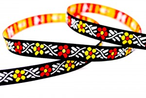 Orange/yellow Flowers Jacquard Ribbon - Orange/yellow Flowers Jacquard Ribbon