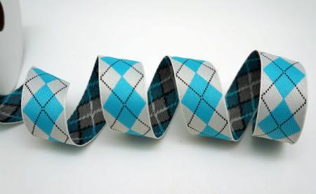 Blue & Light Grey Argyle Pattern Ribbon - Blue & Light Grey Argyle Pattern Ribbon