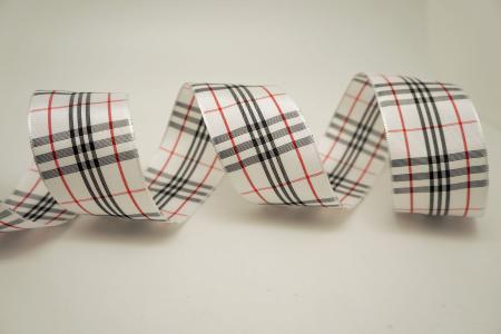 Black / White Red / White Plaid Ribbon