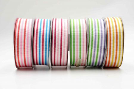 Bicolored Striped Grosgrain Ribbon - Bicolored Stripes Grosgrain Ribbon