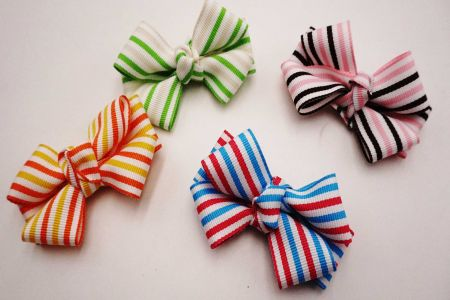 Bicolored Striped Grosgrain Ribbon